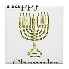 Happy Chanuka with Menorah.png Tile Coaster