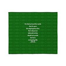 John 3 16 green Throw Blanket