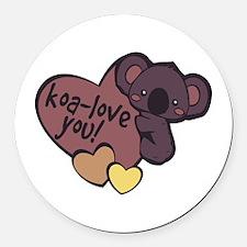 Koa-Love You Round Car Magnet