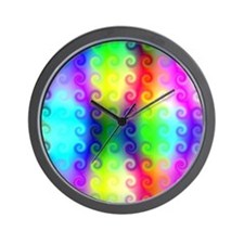 Psychedelic Curly Q's Abstract Art Wall Clock