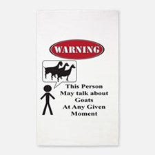 Funny Goat Warning 3'x5' Area Rug