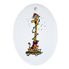 Giraffe in lights on sled.png Ornament (Oval)