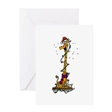 Giraffe in lights on sled.png Greeting Cards
