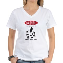 FUNNY Warning Farm Patrolled by Crazy Goat Lady Tshirt