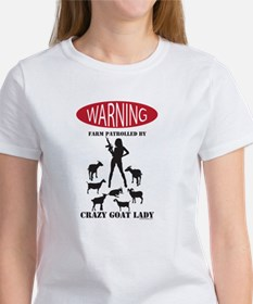 FUNNY Warning Farm Patrolled by Crazy Goat Lady T-