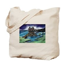 Cute Dragon on castle Tote Bag
