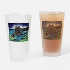 Funny Dragon on castle Drinking Glass