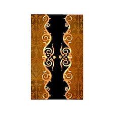 Gold and black border print 3'x5' Area Rug