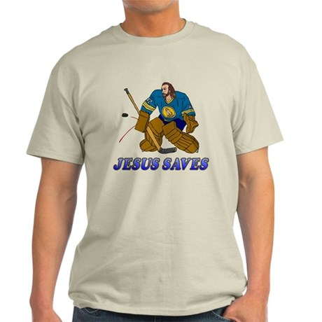 Jesus Saves (Hockey Goalie) Light T-Shirt