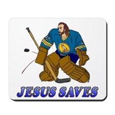 Jesus Saves (Hockey Goalie) Mousepad