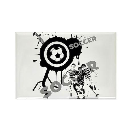 Grunge Soccer Rectangle Magnet (100 pack)