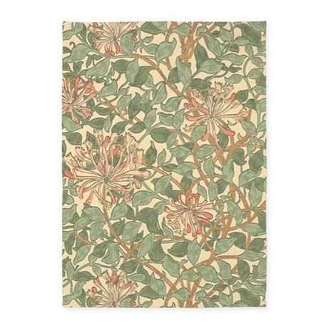 William Morris Honeysuckle Pattern 5 X7 Area Rug By