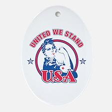 Rosie Riveter United USA Oval Ornament