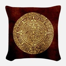 Aztec calendar Woven Throw Pillow