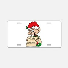 elf with merry christmas sign Aluminum License Pla