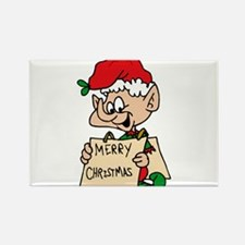 elf with merry christmas sign Magnets