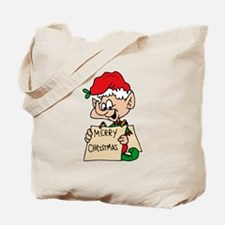 elf with merry christmas sign Tote Bag