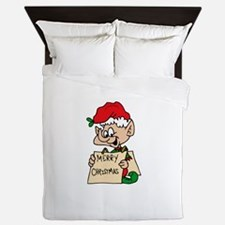 elf with merry christmas sign Queen Duvet