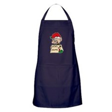 elf with merry christmas sign Apron (dark)
