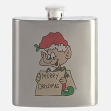 elf with merry christmas sign Flask