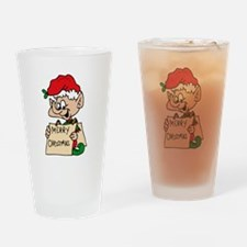 elf with merry christmas sign Drinking Glass
