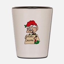 elf with merry christmas sign Shot Glass