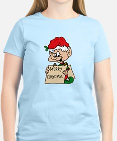 elf with merry christmas sign T-Shirt