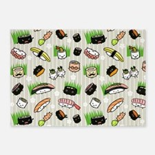 Sushi Characters Pattern 5'x7'Area Rug
