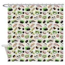 Sushi Characters Pattern Shower Curtain