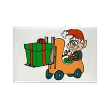 elf with package on forklift.png Magnets