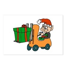 elf with package on forklift.png Postcards (Packag