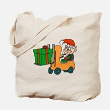 elf with package on forklift.png Tote Bag