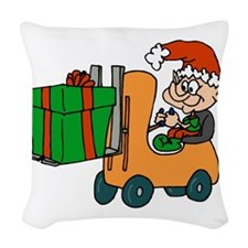elf with package on forklift.png Woven Throw Pillo