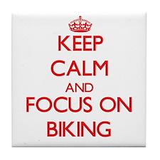 Keep calm and pedal Tile Coaster