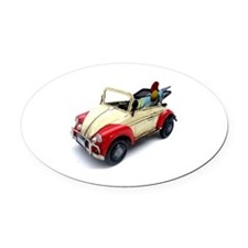 a old tin  car toy Oval Car Magnet