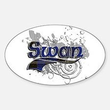 Swan Tartan Grunge Sticker (Oval)