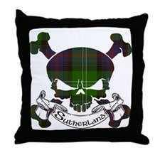 Sutherland Tartan Skull Throw Pillow
