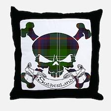Sutherland Tartan Skull Throw Pillow