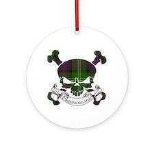 Sutherland Tartan Skull Ornament (Round)