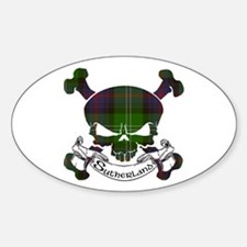 Sutherland Tartan Skull Sticker (Oval)