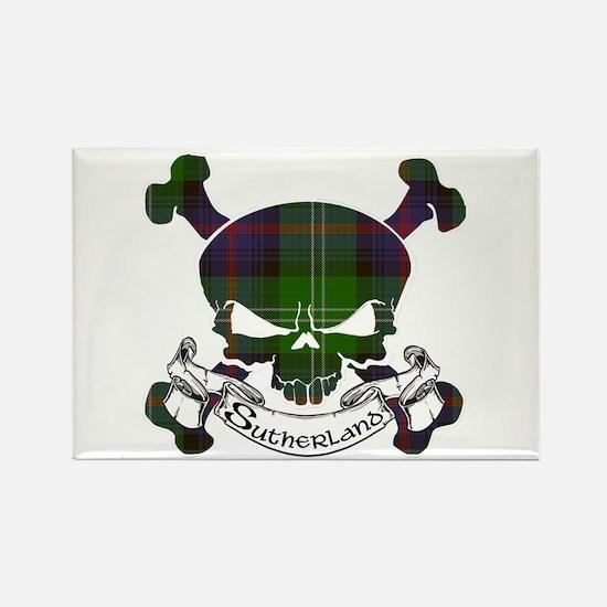 Sutherland Tartan Skull Rectangle Magnet
