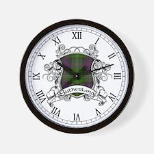 Sutherland Tartan Shield Wall Clock