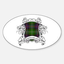 Sutherland Tartan Shield Sticker (Oval)