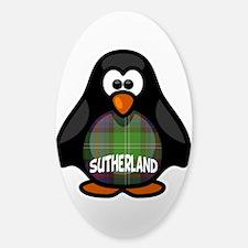 Sutherland Tartan Penguin Sticker (Oval)