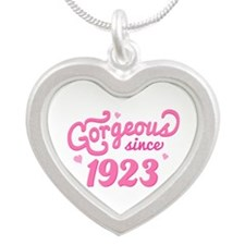1923 Birth Year Gorgeous Silver Heart Necklace