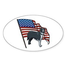 USA Border Collie Oval Decal