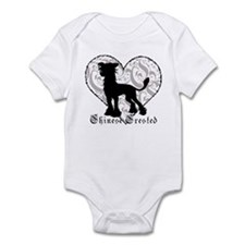 Chinese Crested Heart BW Infant Bodysuit