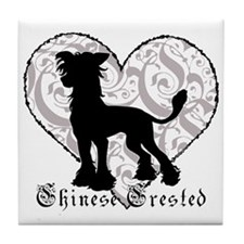 Chinese Crested Heart BW Tile Coaster