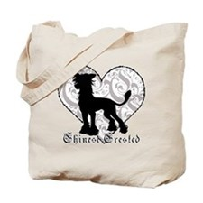 Chinese Crested Heart BW Tote Bag