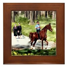 Amish Boy and Girls Framed Tile